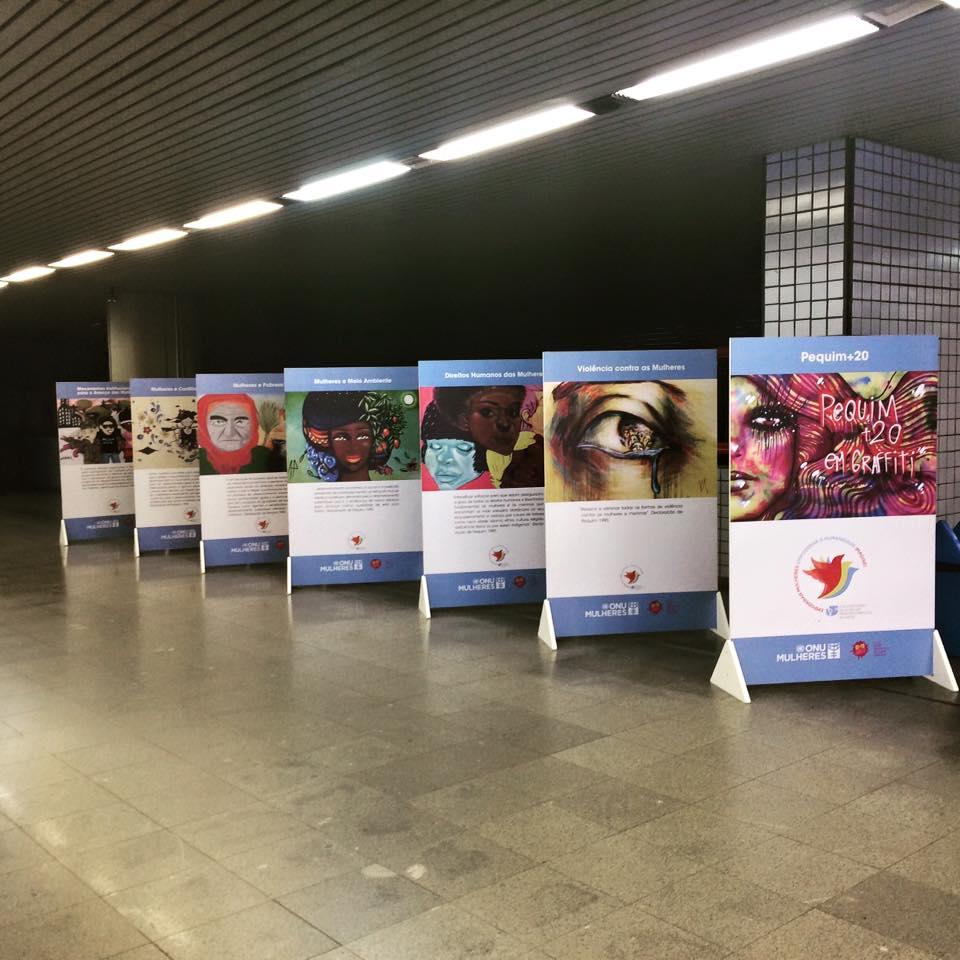 """ONU Mulheres e Rede Nami realizam exposição """"Pequim+20 em Graffiti"""", no metrô de Brasília, até 6 de agosto/"""