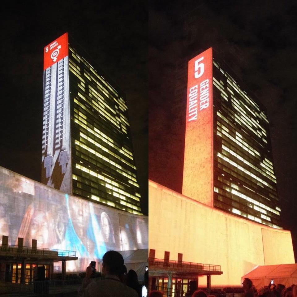 Sede da ONU em Nova Iorque é iluminada com projeções e vídeos sobre os novos Objetivos Globais/