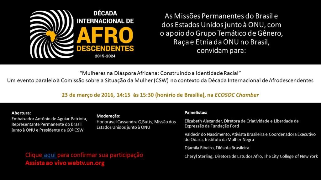 Brasil e Estados Unidos fazem, amanhã (23) em Nova Iorque, debate sobre mulheres negras e enfrentamento ao racismo/