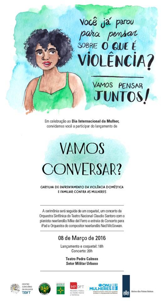 ONU Mulheres, governo e órgãos de justiça do Distrito Federal lançam hoje (8/3) cartilha sobre atendimento a mulheres em situação de violência/