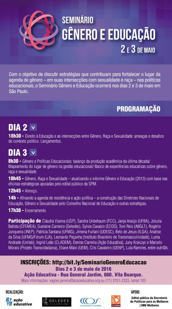Seminário discute gênero nas políticas educacionais e propõe fortalecimento da ação política para combater retrocessos/