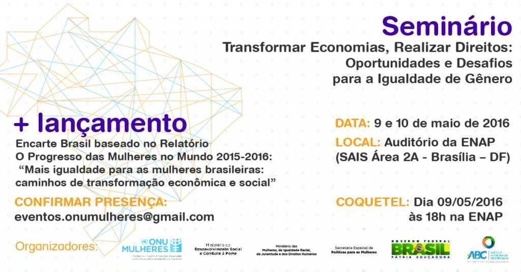 ONU Mulheres e Governo Brasileiro promovem, a partir de 9/5, seminário internacional sobre igualdade de gênero e economia, em Brasília/