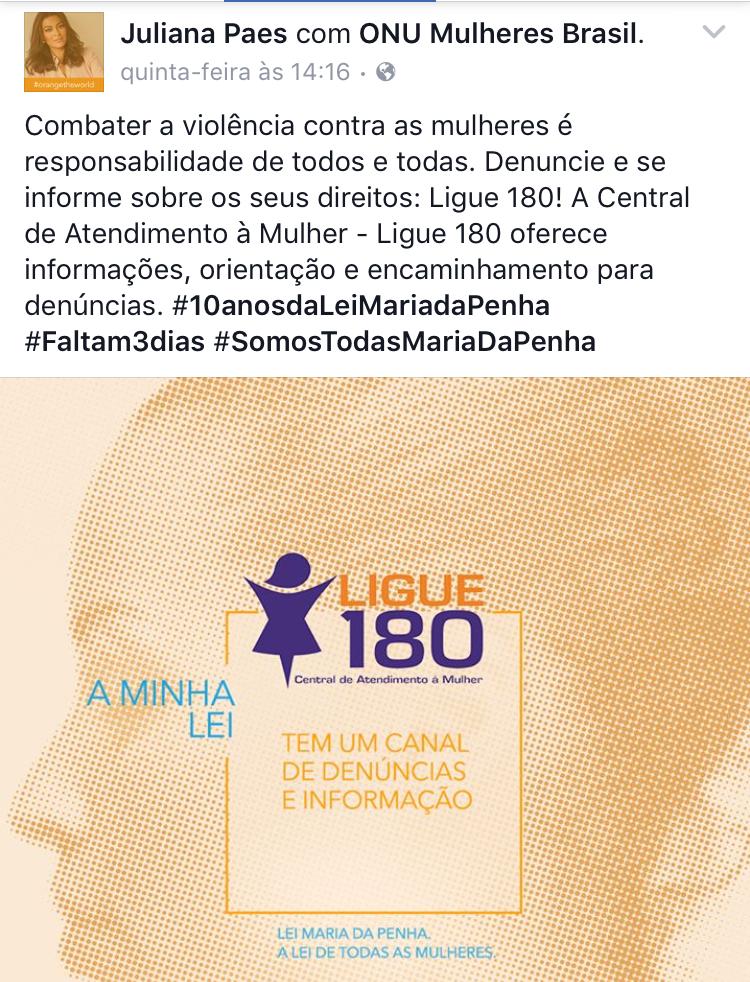 Nas redes sociais, Maria da Penha e Juliana Paes falam sobre os desafios dos 10 anos da Lei Maria da Penha/