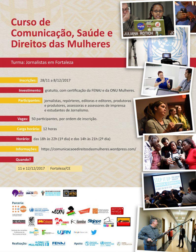 ONU Mulheres e entidades parceiras inscrevem, até 8/12, jornalistas para curso gratuito de comunicação, saúde e direitos das mulheres em Fortaleza/planeta 50 50 noticias decada afro