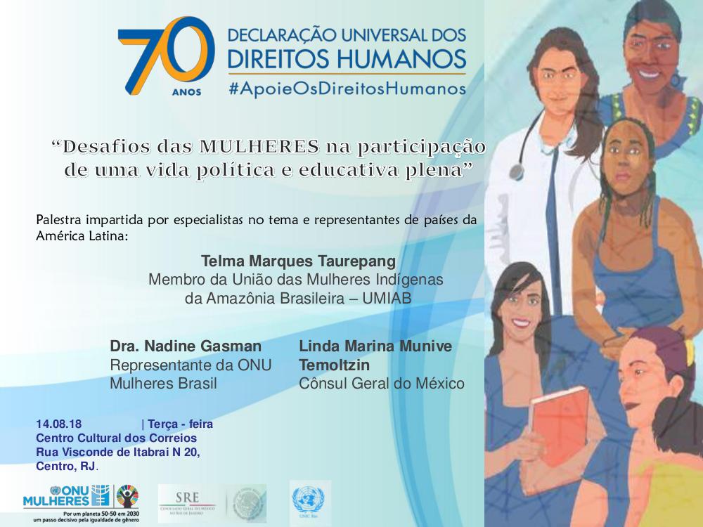 No Rio, Consulado do México e ONU debatem participação da mulher na política e educação/onu mulheres ods noticias mulheres indigenas igualdade de genero direitos humanos direitosdasmulheres