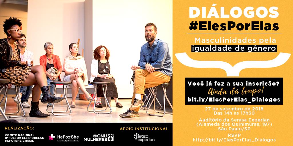 Diálogos #ElesPorElas promove debate sobre masculinidades pela igualdade de gênero, nesta 5ª feira (27/9), em São Paulo/onu mulheres noticias igualdade de genero elesporelas heforshe direitos humanos direitosdasmulheres