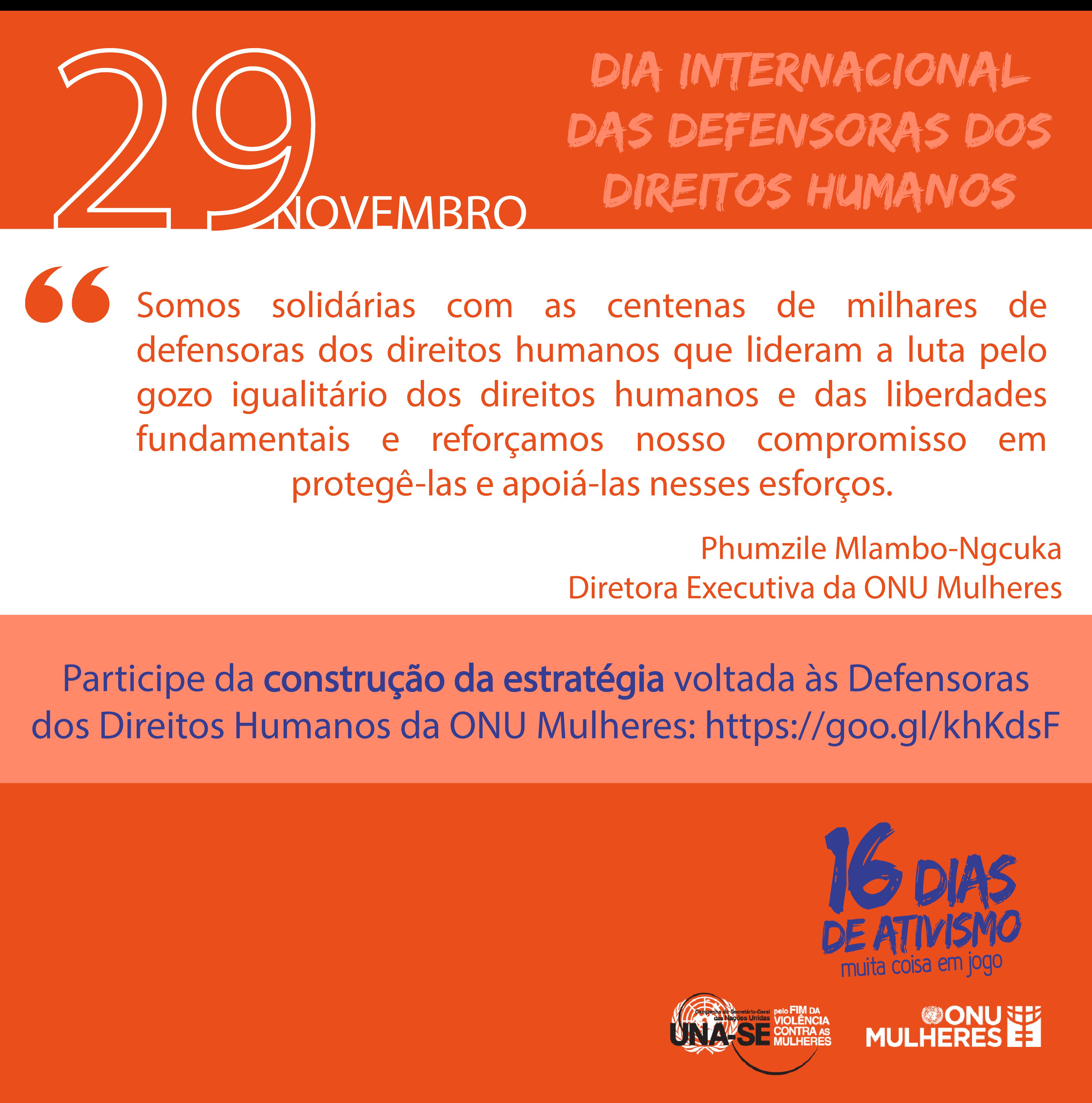 29/11 é Dia Internacional das Mulheres Defensoras dos Direitos Humanos/violencia contra as mulheres onu mulheres noticias direitos humanos direitosdasmulheres 16 dias de ativismo