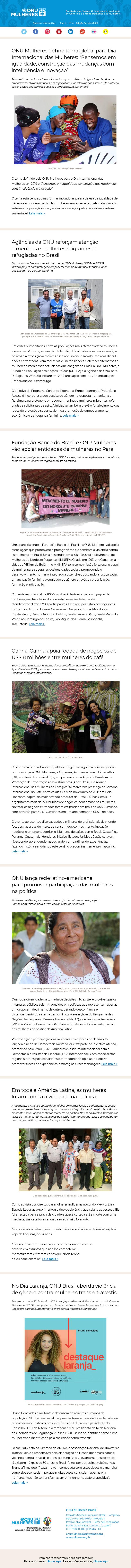 Informativo ONU Mulheres Brasil   Janeiro 2019/