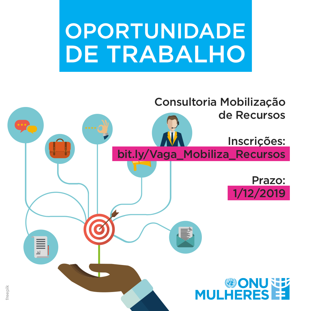 Aberto processo seletivo, até 1/12, para consultoria na área de mobilização de recursos/oportunidade de trabalho onu mulheres noticias